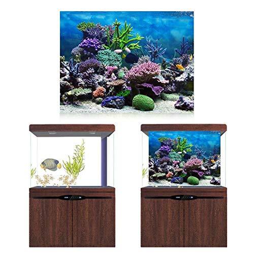 Papel de fondo para acuarios, póster decorativo para acuarios en colores brillantes, PVC impermeable para acuarios(61 * 30cm)