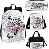 Rose 17 pulgadas mochila con bolsa de almuerzo conjunto de estuche, diseño abstracto mariposas amor 4 en 1 conjuntos de mochila