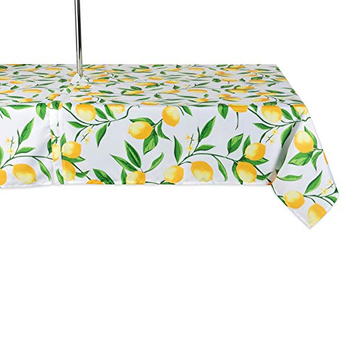 DII CAMZ11293 Spring & Summer Outdoor Tablecloth, Spill Proof and Waterproof with Zipper and Umbrella Hole, Host Backyard Parties, BBQs, Family Gatherings - (Seats 6 to 8), 60x84 w, Lemon Bliss
