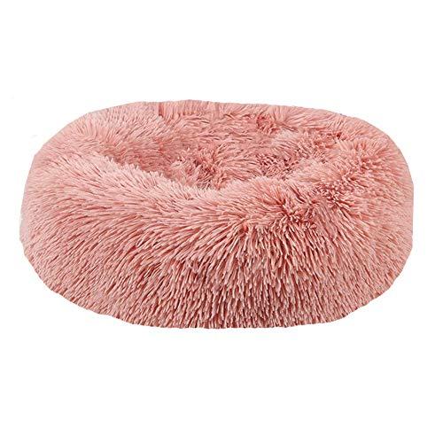BVAGSS Cama de Felpa Deluxe Plush Redonda de Pelo Nido de Donut para Mascotas Deluxe para Gatos y Perros XH034 (Diameter:80cm, Bean Paste)