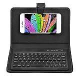 Lazmin112 Tastiera Bluetooth Senza Fili, Custodia in Pelle PU con Supporto per telefoni iOS/Android Cavo USB Ricaricabile Tastiera Rimovibile Universale(Nero)