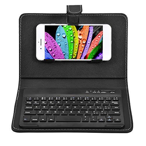 Lazmin Drahtlose Bluetooth-Tastatur, PU-Ledertasche mit Ständer für iOS- / Android-Telefone, wiederaufladbares USB-Kabel, abnehmbare Universaltastatur(Schwarz)
