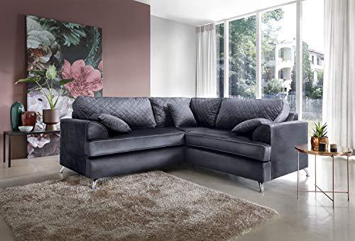 Abakus Direct Ferguson Corner Sofa in Dark Grey Water Repellent Easy Clean Velvet Fabric