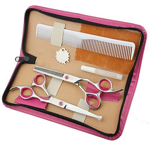 JIARUN Tijeras de barbero Profesional para niños, Tijeras Planas de Cabeza Redonda, Tijeras de Adelgazamiento, Conjunto de Herramientas de peluquería doméstica (6,0 Pulgadas),Rosado
