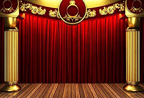 8x6.5ft Theatre Interior Splendid Stage Backdrop Polyester Interlaced Colorful Spotlights Bright Stage Light Shadows Background Performance Live Show TV Programming Banner Studio Props