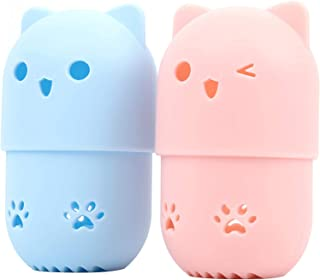 TALITARE 2PC Silicone Makeup Sponge Holder Sponge Blender Carrying Case, Cute Cat Shape Cosmetic Sponge Drying Holder Rac...