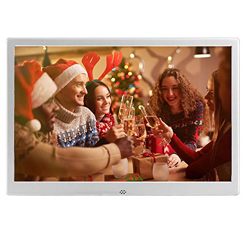 12-Zoll-Digital-Bilderrahmen aus Metall Foto-Video-Player Auflösung 1280 x 800 mit Fernbedienung, USB- / SD- / MMC- / MS-Kartenanschluss, Kalender/Uhr/Mehrsprachige elektronische Bilderrahmen