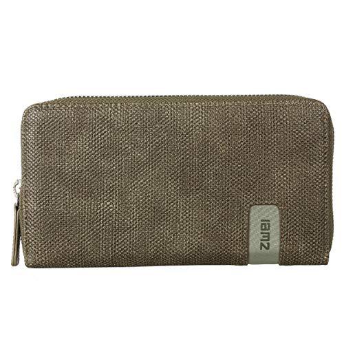 Zwei Wallet MW2 Reißverschluss Geldbörse Portemonnaie Geldbeutel Brieftasche, Farbe:Canvas Basalt