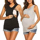 Unibelle – Maglietta premaman a maniche lunghe da donna, per l'allattamento e la gravidanza, abbigliamento casual, taglie: S-XXL Cc_nero e grigio, 2 pezzi M