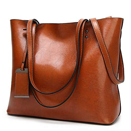 Womens Soft Leather Handbags Large Capacity Retro Vintage Top Handle Casual Tote Shoulder Bags Brown