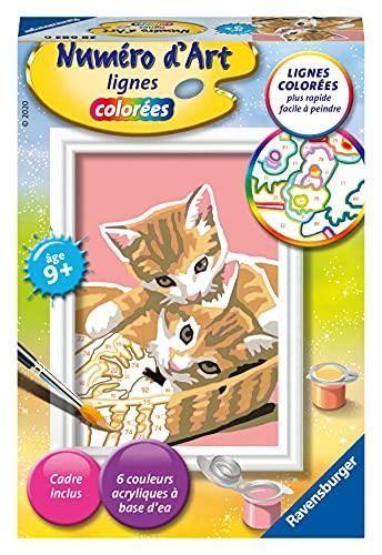 Ravensburger – Numéro d'art mini format – Chatons dans leur panier – loisir créatif – kit de peinture acrylique – activite détente – enfant dès 9 ans – 28683