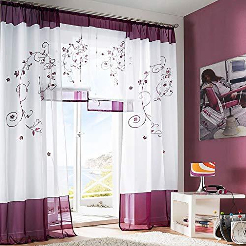 SIMPVALE 2 pezzi pastorale ricamo finestra tende per soggiorno e camera da letto, Violet, 140cm(larghezza)x245cm(lunghezza)