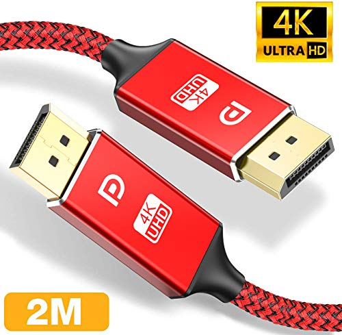 DisplayPort Kabel 2M,4K DisplayPort auf DisplayPort Kabel,ALCLAP DP zu DP Kabel(4K@60Hz, 2K@144Hz) Nylon Geflecht Ultra Highspeed DisplayPort-Kabel für PC,TV,Beamer,Monitor,Grafikkarten(Rot)