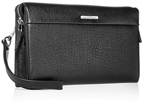Genuine Leather Clutch Bag Long Wallets with Removable Strap for Man, Soft and Large Capacity (Black, Large)