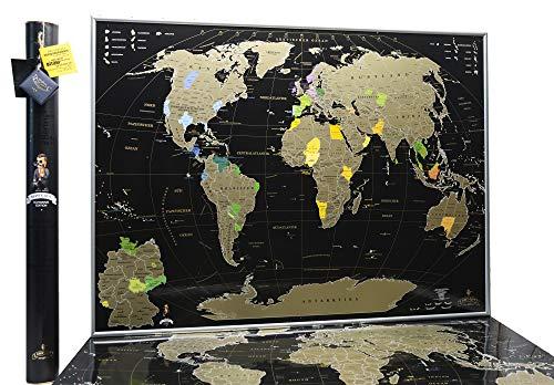 MyMap Rubbelweltkarte in Deutsch - Schwarze Rubbel Weltkarte - Hochwertige Qualität - Rubbelweltkarte Deluxe Edition - Weltkarte zum frei rubbeln - Weltkarte zum Freirubbeln - Rubbelkarte