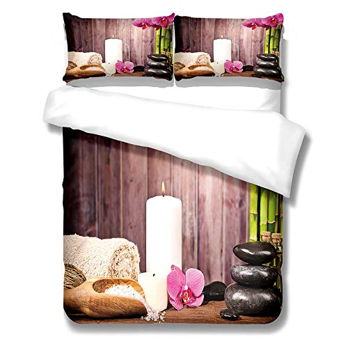 3D Duvet Covers Brown Phalaenopsis Orchid Stone 78.7 X 78.7 inch Double–Microfiber Quilt Cover Bedding Set With Pillocases 3 Pcs Bedding Set