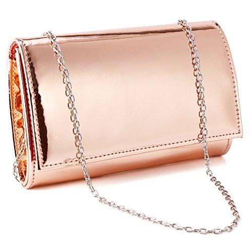 Anladia Kleine metallische Lack-Clutch-Designer-Damentasche für Hochzeit, Abschlussball, Abendtasche, Beige - rose gold - Größe: Small