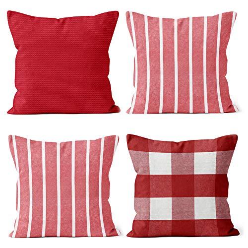 Encasa Homes Fundas de Cojín (Juego de 4 Piezas) - Cheques, Rayas y sólidos Fundas de Almohada para sofá, Cama - Eco-algodón de Colores Brillantes, diseños clásicos - Lavable a máquina - Rojo