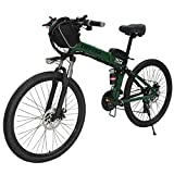 CLIENSY New 26' Electric Bike 500W Folding E-Bike with Removable 36V 10AH Lithium Battery, Electric Bicycle for Adults, 21 Speed Gears (Black)