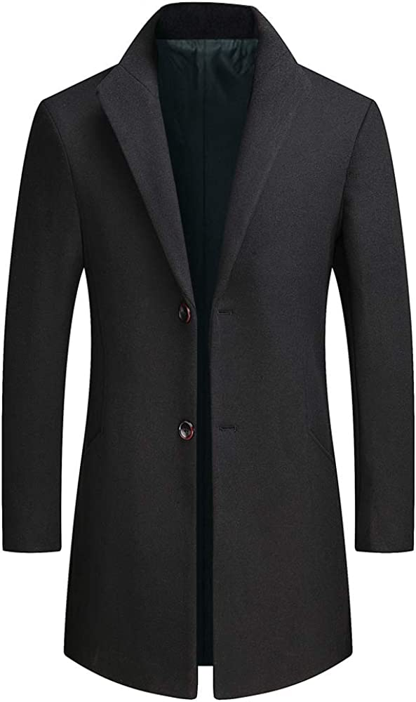 MMCICI Mens Wool Blend Coats Warm Winter Long Casual 2 Button Slim Fit Jackets Single Breasted Overcoats