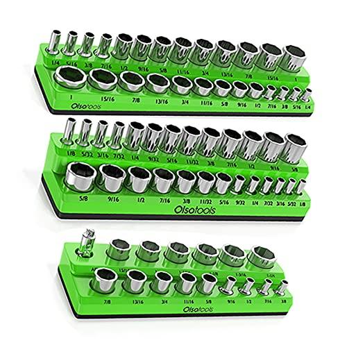 Olsa Tools Magnetic Socket Organizer   3 Piece Socket Holder Kit   1/2-inch, 3/8-inch, 1/4-inch Drive   SAE Green   Holds 68 Sockets   Premium Quality Tools Organizer