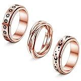 FIBO STEEL 3PCS Stainless Steel Fidget Band Rings for Women Spinner Rings Rose Gold Size 8