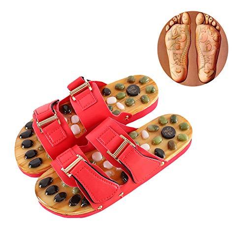 Massage Flip Flops Zwei Schnallen Achatstein Natürliche Therapie Fußmassage Pantoffeln,Red,S