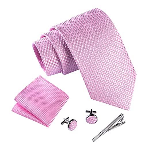 Massi Morino Krawatte mit Einstecktuch I Premium Set inkl. Manschettenknöpfe und Krawattennadel I Herren Geschenkbox (Rosa - Kariert)