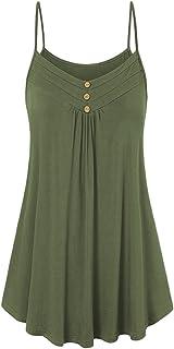 riou Camisetas Mujeres Verano Tamaño Grande Blusa Tirantes Mujer botón Suelto Cuello V Cami Tank Tops Básica Tops Mujer Ve...