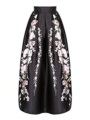 Joeoy Women's Black Floral Print High Waist Flare Pleated A-Line Maxi Skirt