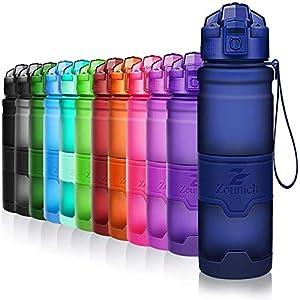 ZOUNICH Botella Agua Deporte Botellas Agua Niños sin BPA, Reutilizable Tritan Plástico Ecologica con Filtro, 400ml/500ml700ml/1l, Cantimploras para Gimnasio, Bicicleta, Colegio, Oficina, Viajes