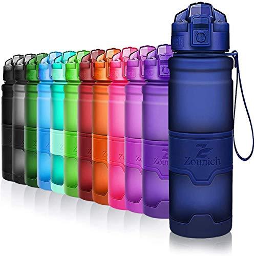 ZOUNICH Trinkflasche Sport BPA frei Kunststoff Sporttrinkflaschen für Kinder Schule, Joggen, Fahrrad, öffnen mit Einer Hand Trinkflaschen Filter, Dunkelblau, 17oz/500ml