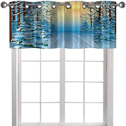 Aishare Store Grommet Kitchen Curtain Valance, Forest View Paint Print with Snowy Path Between Trees and Sun on Sky, 36' x 18' Decoration Valance for Kitchen/Living Room/Bedroom(1 Panel)