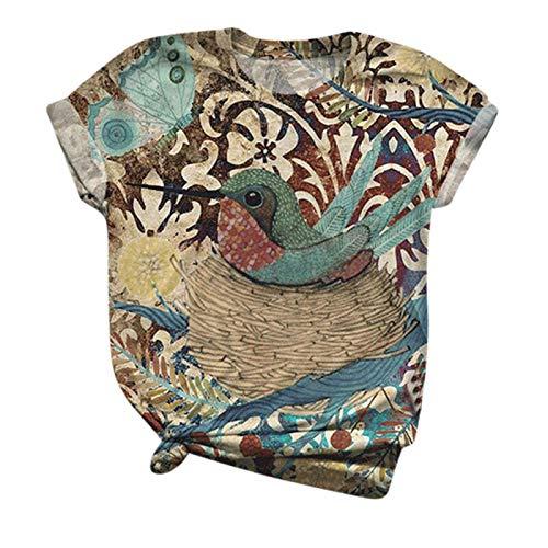 XOXSION Camiseta de verano para mujer, tallas grandes, camiseta de manga corta para mujer, con estampado animal, cuello redondo, blusa tipo túnica B multicolor. M