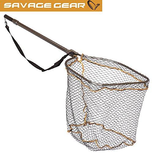 Savage Gear Full Frame Rubber mesh Landing Net L 50x65cm - Kescher zum Spinnfischen, Unterfangkescher für Raubfische, Hechtkescher