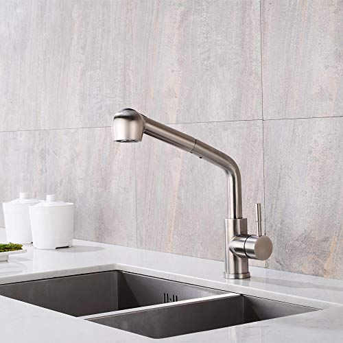 WANJINLI Pull Out Kitchen Faucet, Single Lever Stainless Steel Kitchen Sink Faucets with Pull Down Sprayer, Faucet with 360 Rotate Spout, Single Handle Brushed Nickel Laundry Water Faucet