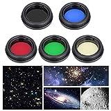 Telescopio Lente ocular Juego de filtros,lentes de aleación de aluminio profesional Filtro de color Conjunto Accesorios de telescopio para Telescopio de 1,25 pulgadas/31,7 mm para Moonlight Planet