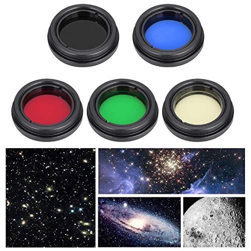 Telescopio Obiettivo Kit filtro, Lenti ottiche professionali in lega di alluminio Filtro colore Set Accessori telescopio per 1.25 pollici / 31,7 mm Telescopio per chiaro di luna Planet Sun
