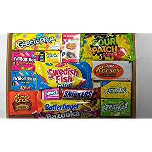 american candy box hamper of sweets and chocolate by candy town | reeses, gobstopper, jelly belly, nerds, mike & ike, swedish fish, snickers, butterfinger, bazooka, lemonhead - 15 items gift - ct2 American Candy Box Hamper of Sweets and Chocolate by Candy Town | Reeses, Gobstopper, Jelly Belly, Nerds, Mike & IKE… 51EJO1bKQ4L
