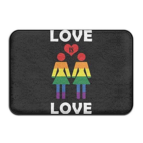 XGBDTJ Estera De La Puerta Felpudo Interior Love Is Love único Gay Lesbian Pride Alfombras Delanteras Alfombra Personalizada Tapete Para Baño Cocina Dormitorio Alfombras De Entrada Antideslizantes Cau