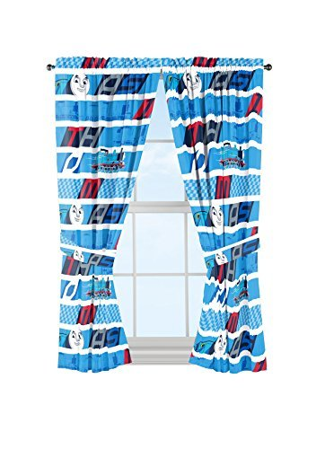 Jay Franco Mattel Thomas The Tank Engine Colorblock Curtain Panel and Tie Backs Drapery Set