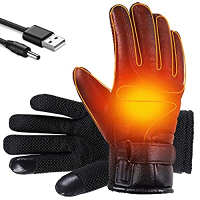 Shaboo Prints Heated Gloves, Winter Heated USB Gloves for Men and Women, Thermal Heated Work Hunting Motorcycle Gloves, Waterproof Warming Gloves Hand Warmers, M Size