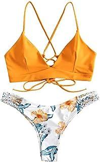 riou Bikini, Conjuntos de Bikinis para Mujer Push Up Mujeres Traje de BañO Estampado Bohemio Dividido BañAdores con Relleno Tops y Braguitas Mujer 2020 brasileños vikinis