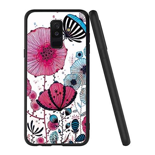Yoedge Capa para Samsung Galaxy J8/A6 Plus 2018, capa fina macia de gel de silicone TPU à prova de choque luxuosa estampa floral 3D relevo capa traseira bumper para Samsung Galaxy J8/A6 Plus 2018 (Lotus Leaf)