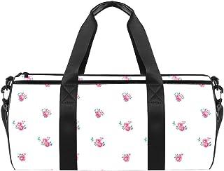 DJROWW Reisetasche aus Segeltuch mit Blumenmuster, Vintage-Stil, Pink