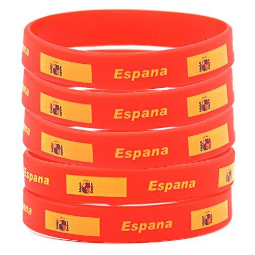 SpringPear 5x Pulseras Silicona Bandera Española