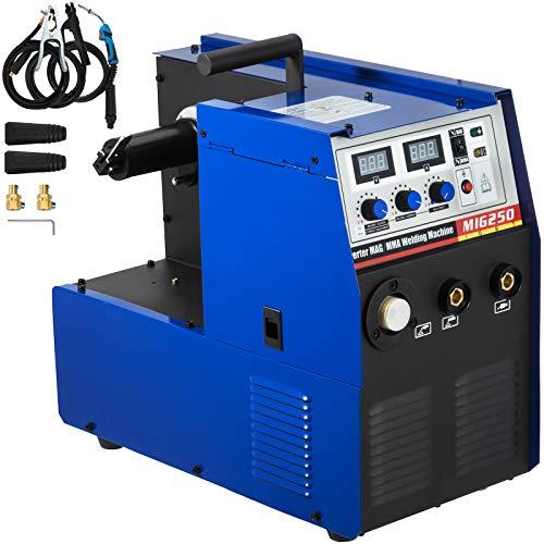 VEVOR Soldadora de Inversor Portátil, MIG-250 1 Fase 230 V ± (15%) Máquina de Soldadura MIG MMA MAG, 40-250 A Diámetro Aplicable del Alambre 0,8-1,0 mm Soldador Inversor para Soldar Acero y Hierro