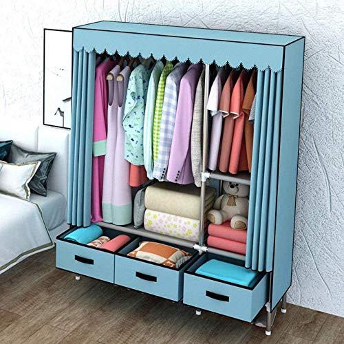 JLKDF WQF Canvas Garderobe Schublade Schlafzimmer Wohnzimmer Schlafsaal Kleidung Unterwäsche Bettdecke Aufbewahrungsschrank Tragbarer Klappschrank Dustproof-Blue_125 * 45 * 168Cm