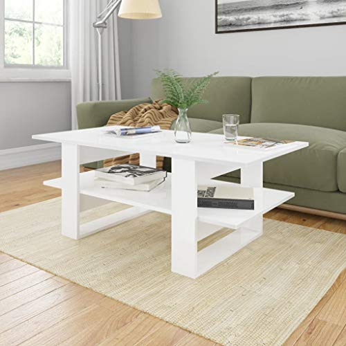 Festnight Couchtisch Hochglanz-Weiß 110x55x42 cm Spanplatte Wohnzimmertisch Kaffeetisch Beistelltisch Sofatisch Wohnraum Couch Tisch