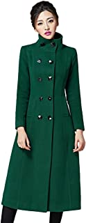 Women's Double Breasted Lapel Walker Long Wool Coat